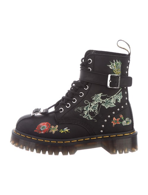 Dr. Martens Leather Printed Combat Boots Black