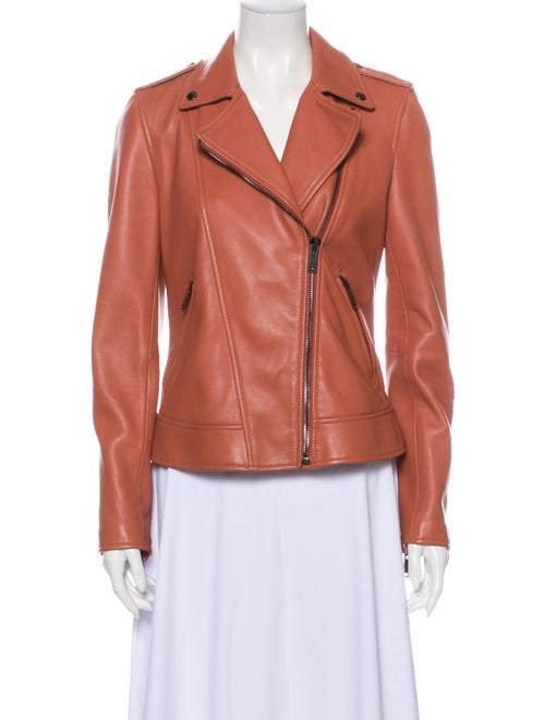 Massimo Dutti Leather Biker Jacket Pink
