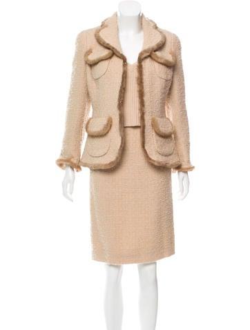 Edward Achour Mink-Trimmed Wool Skirt Set None