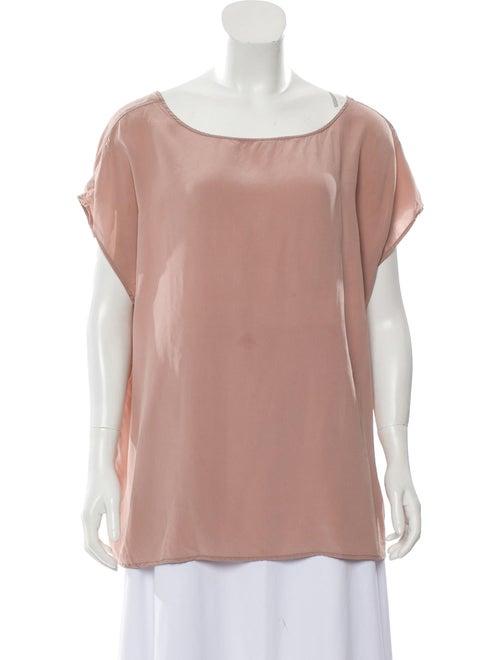 Jesse Kamm Silk Scoop Neck Top Pink