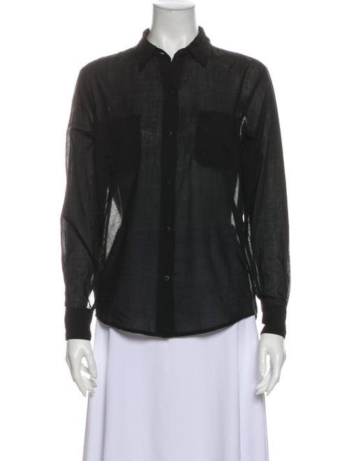 Jesse Kamm Long Sleeve Button-Up Top Black