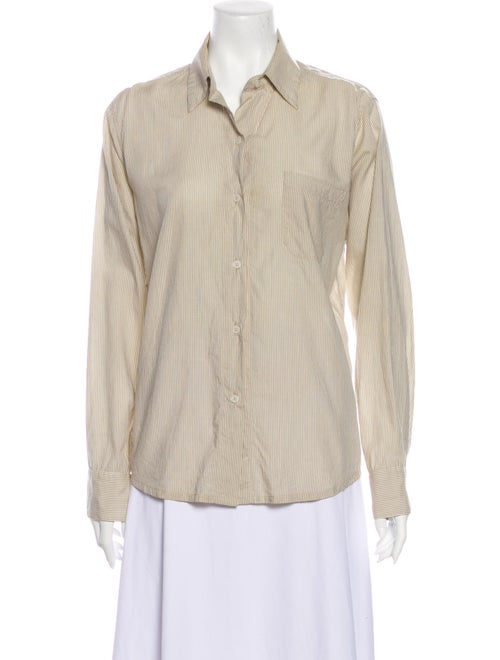 Jesse Kamm Striped Long Sleeve Button-Up Top Brown