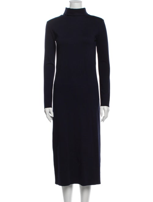 Jesse Kamm Turtleneck Long Dress Blue