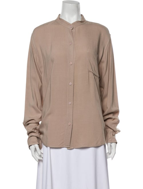 Jesse Kamm Mock Neck Long Sleeve Button-Up Top
