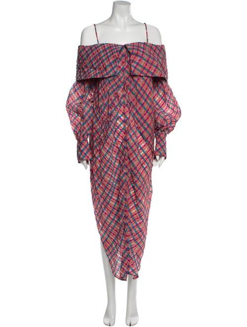 Eckhaus Latta Plaid Print Long Dress Pink