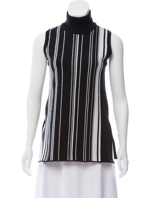 Edun Sleeveless Striped Turtleneck Black