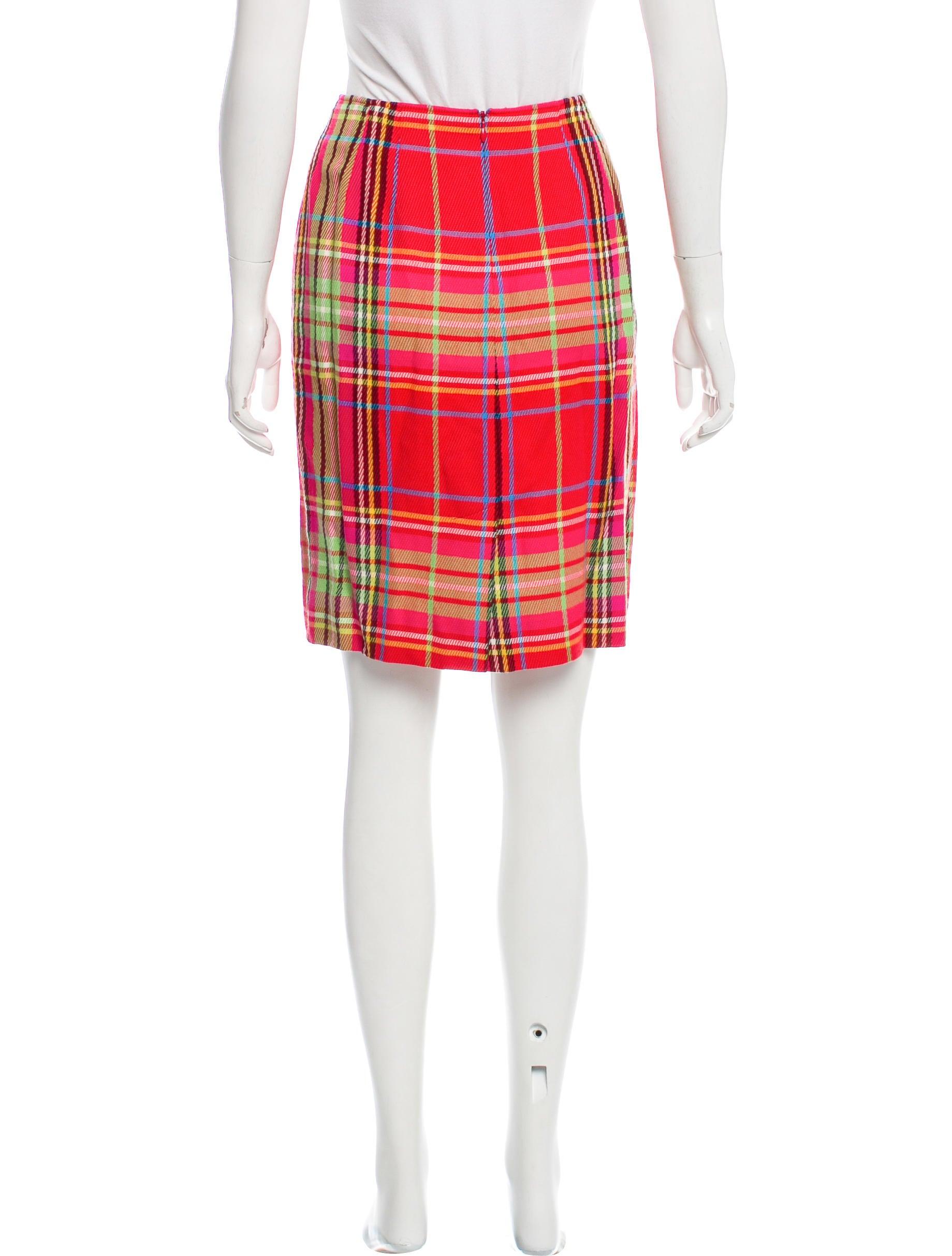 emanuel by emanuel ungaro plaid knee length skirt