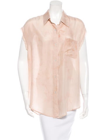 Elizabeth and James Silk Sleeveless Button Up