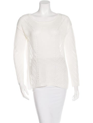 Elizabeth and James Open Knit Long Sleeve Sweater