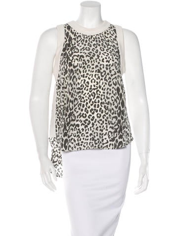 Elizabeth and James Silk Leopard Top None