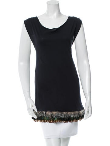 Elizabeth and James Feather-Accented Sleeveless Tunic