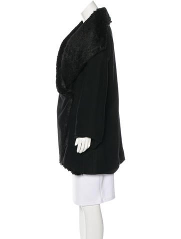 Faux Fur-Trimmed Virgin Wool Coat