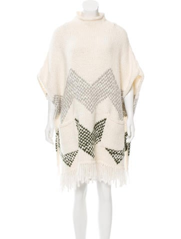 Elizabeth and James Patterned Knit Poncho None