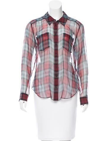 Silk Plaid Top