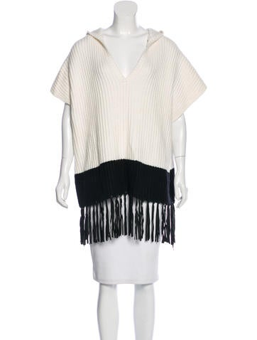Elizabeth and James Fringe-Trimmed Rib Knit Sweater None