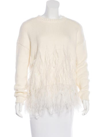 Elizabeth and James Feather-Trimmed Oversize Sweater w/ Tags