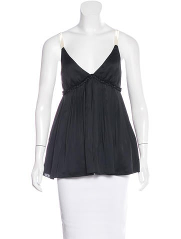 Elizabeth and James Pleated Satin Top None