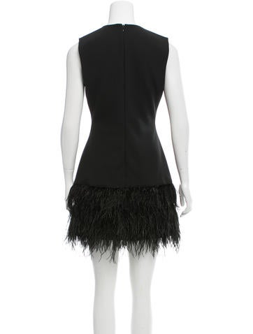 Feather-Tiered Sheath Dress