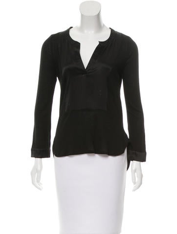 Elizabeth and James Long Sleeve Silk-Trimmed Top None