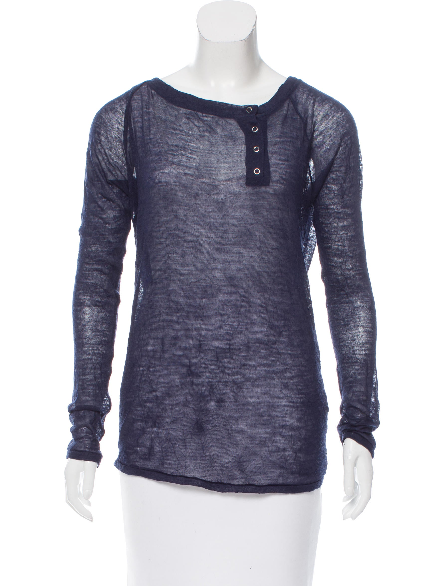 Elizabeth and james long sleeve henley top clothing for Best henley long sleeve shirts