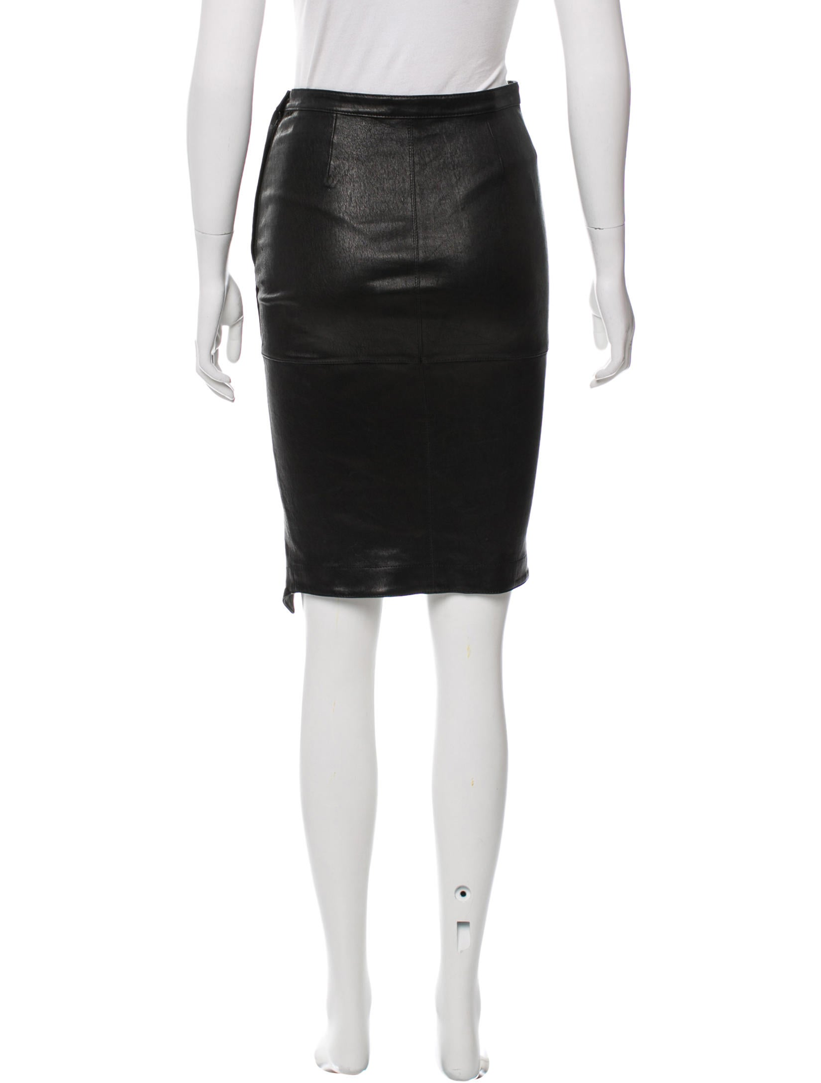 elizabeth and asymmetrical leather skirt clothing
