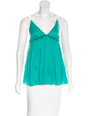 Elizabeth and James Pleated Sleeveless Top None