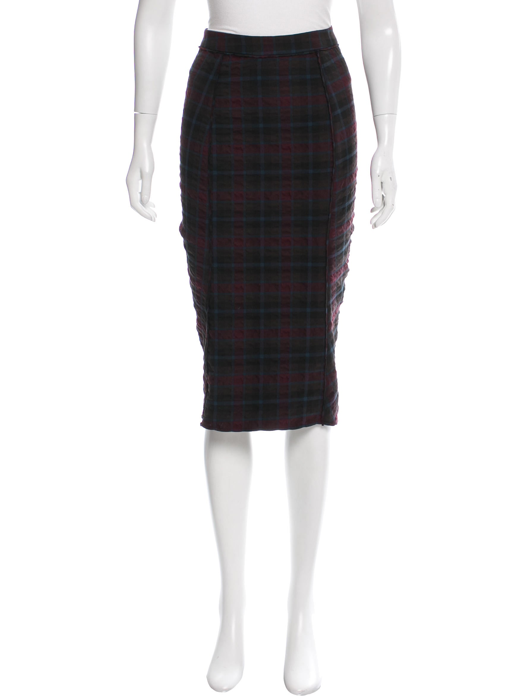 elizabeth and plaid knee length skirt clothing