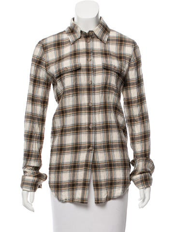 Elizabeth and James Plaid Button-Up Top None