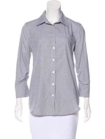 Elizabeth and James Striped Button-Up Top None