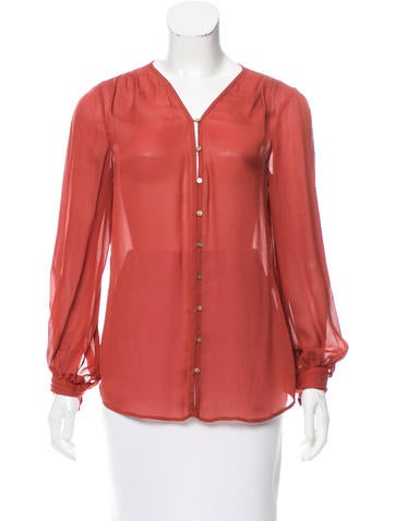 Elizabeth and James Silk Button-Up Top None