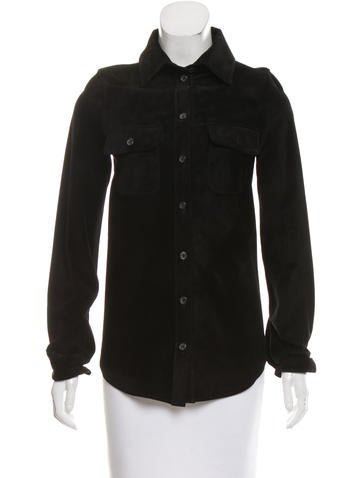 Elizabeth and James Suede Button-Up Top None