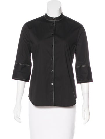 Elizabeth and James Woven Button-Up Top None