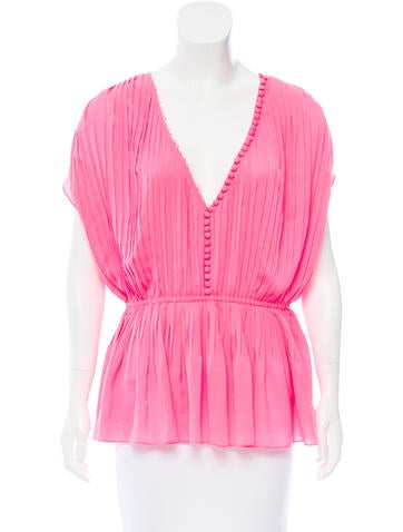 Elizabeth and James Pleated Button-Up Top None