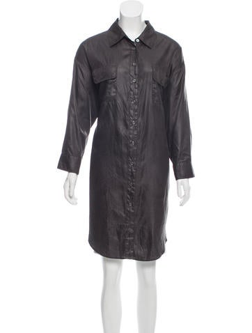Elizabeth and James Long Button-Up Top None