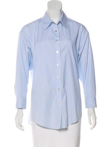 Elizabeth and James Pinstripe Button-Up Top None