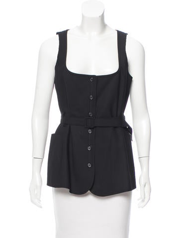 Elizabeth and James Sleeveless Button-Up Top None
