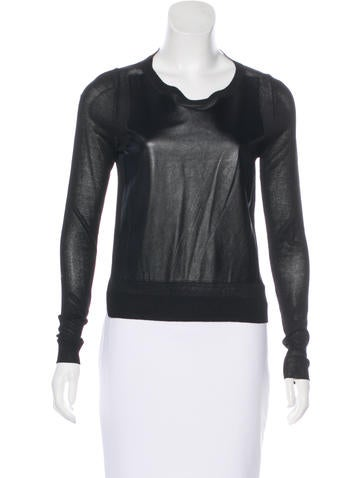 Elizabeth and James Leather Paneled Crew Neck Top None