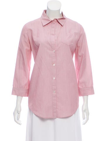 Elizabeth and James Pinstripe Button-Up Shirt None