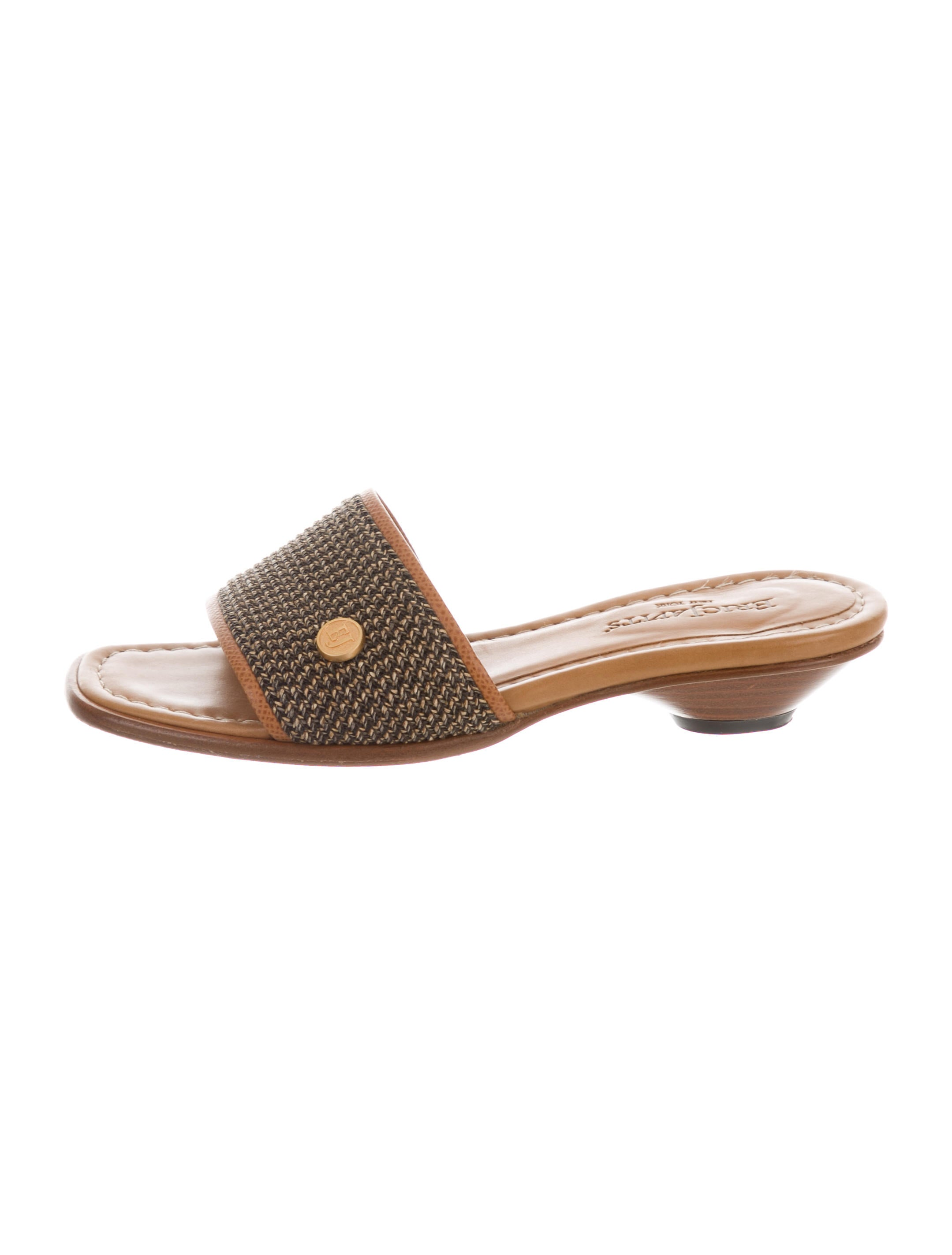 Eric Javits Logo Raffia Slide Sandals free shipping visit explore for sale free shipping fake cmMK4