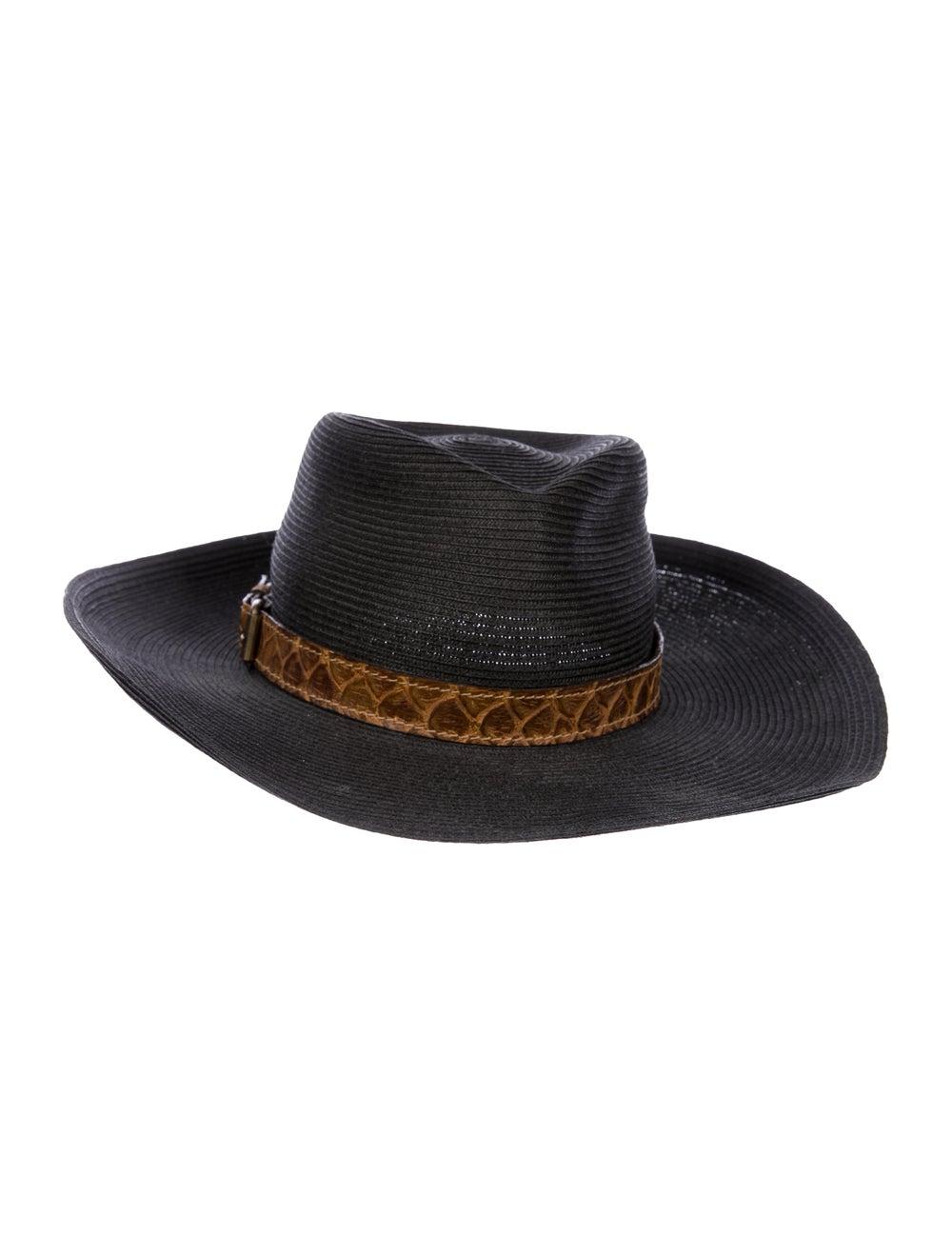Eric Javits Straw Wide Brim Hat Black - image 2
