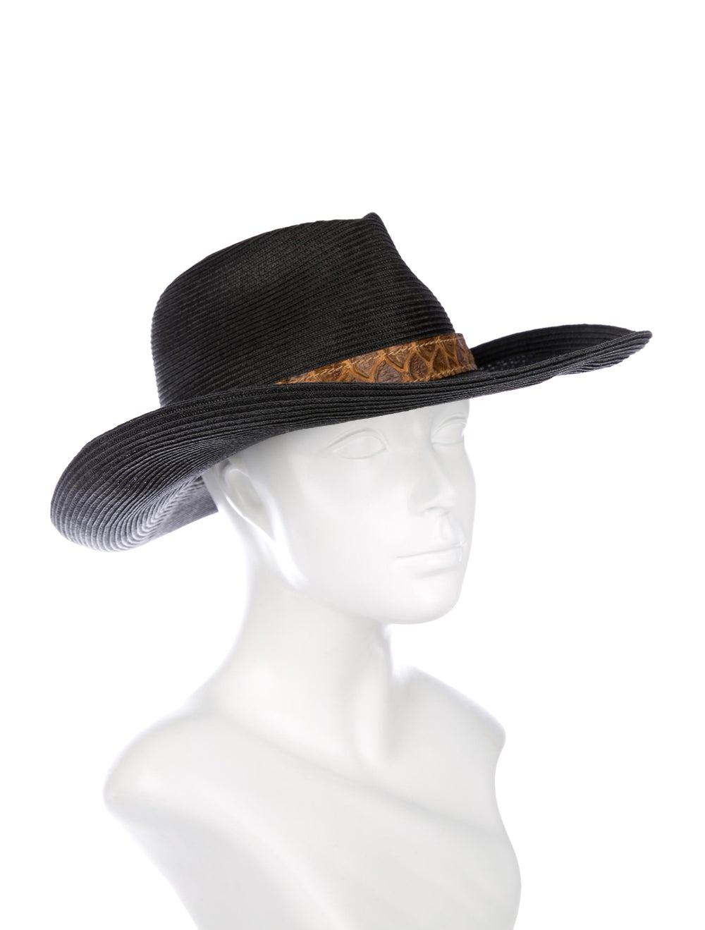 Eric Javits Straw Wide Brim Hat Black - image 3