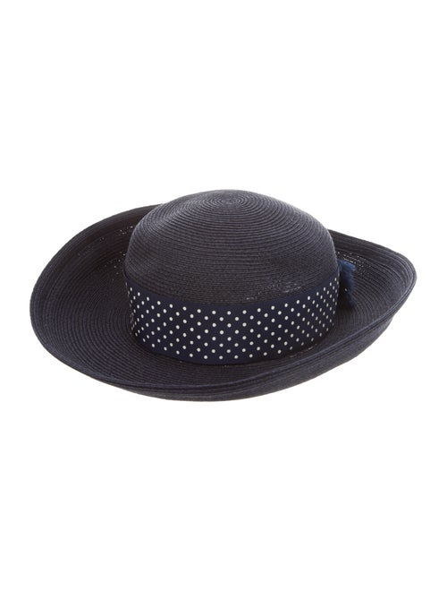 Eric Javits Straw Wide-Brim Hat Navy