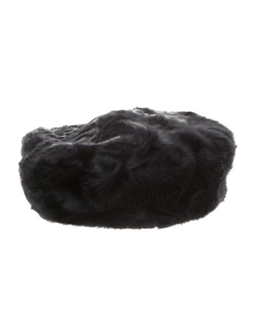 Eric Javits Shearling Beret Hat Black