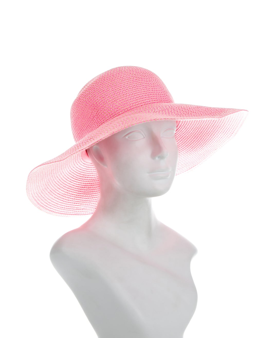 Eric Javits Straw Wide-Brim Hat Pink - image 3