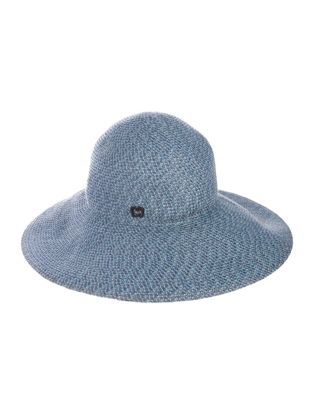 Eric Javits Straw Wide Brim Hat Blue - image 2