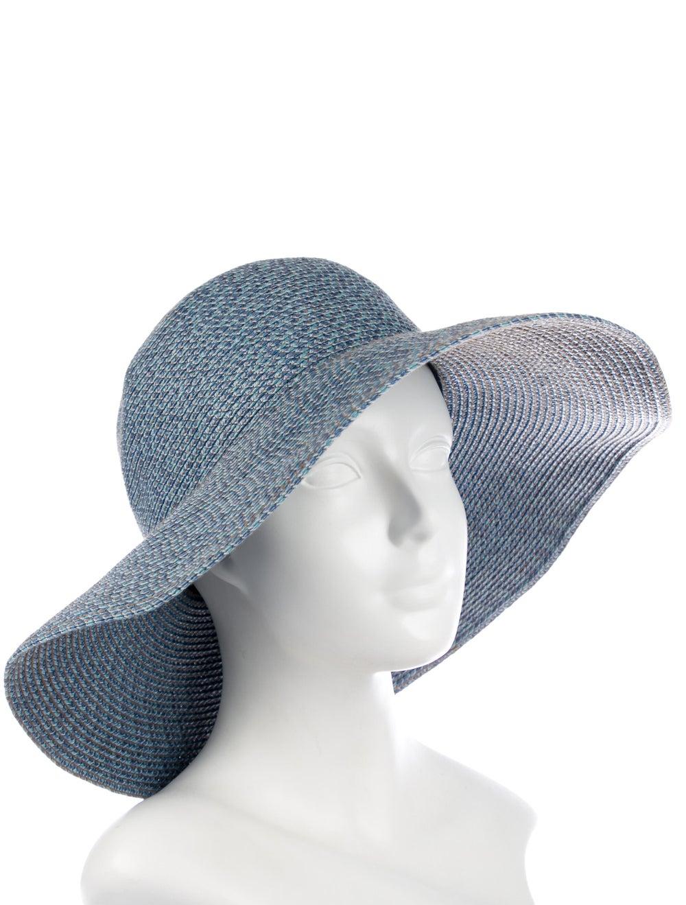 Eric Javits Straw Wide Brim Hat Blue - image 3