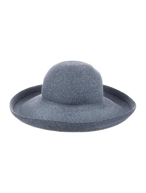 Eric Javits Straw Wide Brim Hat Blue