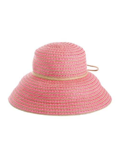 Eric Javits Straw Woven Hat Pink