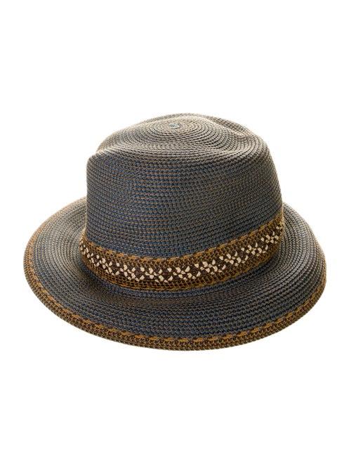 Eric Javits Straw Bucket Hat Blue