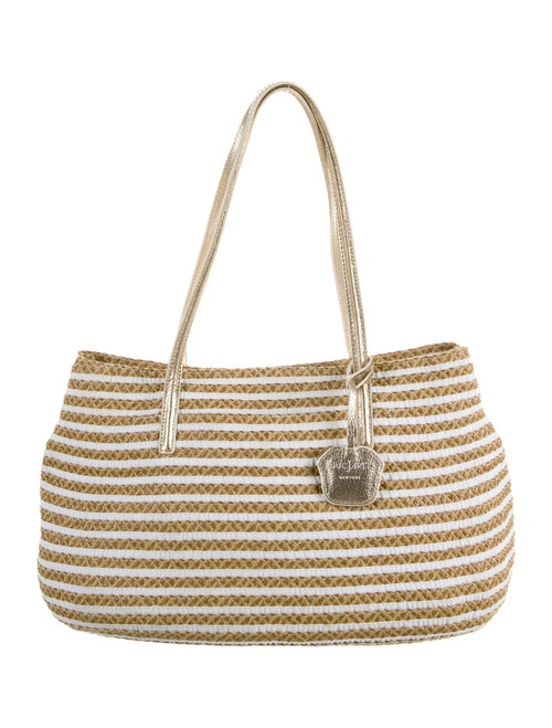 Eric Javits Striped Straw Shoulder Bag Gold